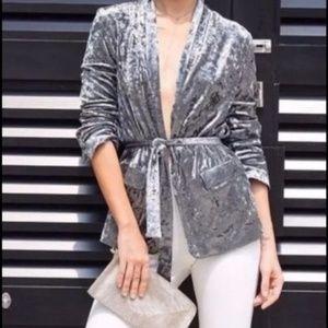NEW Zara Velvet Open Tie Jacket Blogger Favorite